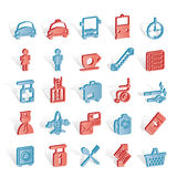 Airport, travel and transportation icons Stock Images