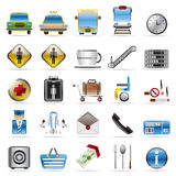 Airport, travel and transportation icons. Airport, travel and transportation vector icon set Royalty Free Stock Image
