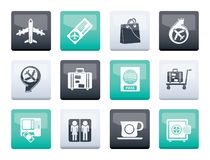 Airport, travel and transportation icons 1 over color background stock photo