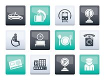 Airport, travel and transportation icons 2 over color background stock photo