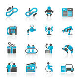 Airport, travel and transportation icons Royalty Free Stock Images