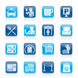 Airport, travel and transportation icons Royalty Free Stock Photos