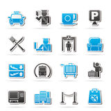 Airport, travel and transportation icons Royalty Free Stock Photo
