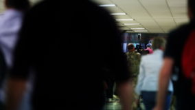 Airport Travelers Exiting Soft Focus Stock Photos