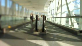 Airport Travelers Moving Walkway Tilt Shift