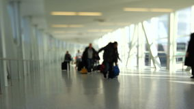 Airport Travelers People Tilt Shift. V20. Airport travelers walking by stock video