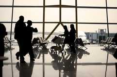 Airport Travelers Silhouette Stock Image
