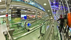 Airport Travelers Time Lapse Bangkok Fisheye stock video footage