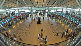 Airport Travelers Time Lapse Fisheye stock video footage