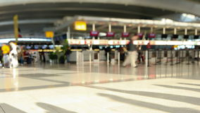 Airport Travelers Time Lapse Tilt Shift. V2. Time lapse of airport travelers at checkin area stock video footage