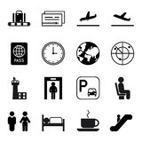Airport and traveling vector icons stock illustration