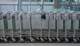 Airport trolley parking lot royalty free stock photos