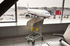 The airport trolley royalty free stock images