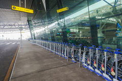 Airport Trolleys Stacked Royalty Free Stock Photo