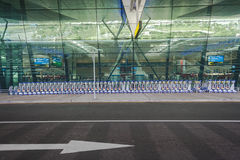 Airport Trolleys Stacked Royalty Free Stock Image