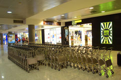 Airport trolleys stacked Stock Image