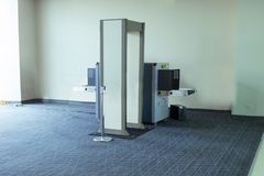 Airport TSA Security Check Scanner Machine. The device is used to detect weapons and explosives before passengers board a flight to travel stock photos