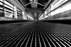 Airport Tunnel. Black and white of airport tunnel, wide angel, San Francisco International Airport Stock Image