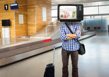 In the airport. tv face Royalty Free Stock Image