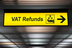 Airport Vat refund and customs sign in terminal at airport.  Royalty Free Stock Photo