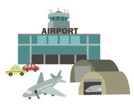 Airport vector drawing in the style of children's illustration. Airport airplanes with a flat vector drawing in the style of children's illustration, object Royalty Free Stock Image