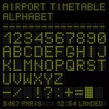 Airport vector timetable green alphabet. Vector Illustration royalty free illustration
