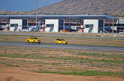 Airport Vehicles At Work - Alicante Airport Cars Stock Image