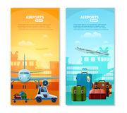 Airport Vertical Banners. With touristic baggage and airfield transport icons at terminal silhouette background flat vector illustration Stock Photo