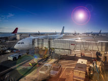 Airport view of jet plane Stock Images
