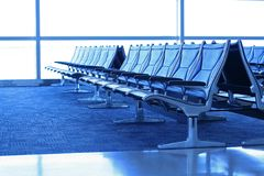 Airport waiting area seats Royalty Free Stock Photography