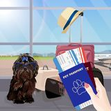 Airport waiting hall, dog in the foreground. Terminal interior, panoramic window, airplane. Time to travel. Airport waiting room, dog in the foreground. Terminal vector illustration