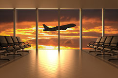 Airport waiting room. With airplane and sunset, 3D rendering Royalty Free Stock Photography