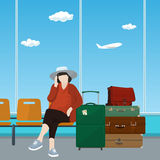 Airport , Waiting Room with Woman Royalty Free Stock Images