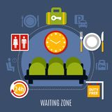 .Airport Waiting Zone Flat Poster. International airport waiting zone with luggage storage service restroom and duty free symbols flat poster vector illustration Stock Photos