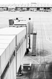 Airport walkway. A walkway for embarking aircraft at a UK airport Stock Photo