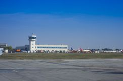 Airport watch tower. And clear blue sky stock images