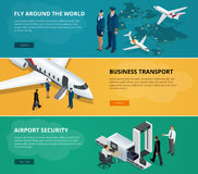 Airport web banner set. Concept of international private airline. Flying commercial and private personal transport Royalty Free Stock Images