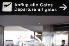 Airport white gates departure sign. White gates departure sign at the Zurich international airport Stock Images