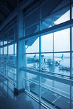 Airport window outside Royalty Free Stock Image