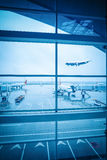 Airport window outside scene Royalty Free Stock Photography