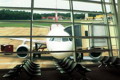 Airport window view at departure hall Royalty Free Stock Image
