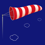 Airport windsock. Against cloudy background, abstract vector art illustration; image contains transparency royalty free illustration