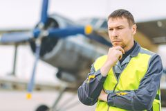 Airport worker support. Service aviation man transportation royalty free stock images
