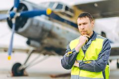 Airport worker support. Service aviation man transportation stock photography