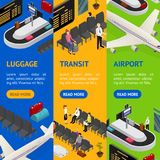 Airport Zone Luggage Transit Banner Vecrtical Set Isometric View. Vector. Airport Zone Luggage Baggage Reclaim Interior and Transit Banner Vecrtical Set Stock Images