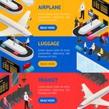 Airport Zone Luggage Transit Banner Horizontal Set Isometric View. Vector Royalty Free Stock Photography