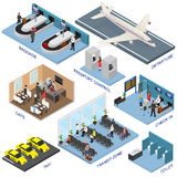 Airport Zone Set Isometric View. Vector Royalty Free Stock Photography