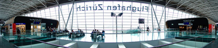 Airport zurich symetrical view. Panorama view of zurich airport Royalty Free Stock Photos