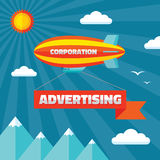 Airpship with advertising banner - creative vector illustration in flat style. Design element Royalty Free Stock Photo