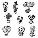 Airs balloons hand draw painted cartoon. Set airs balloons hand draw painted cartoon.eps 8 Stock Image
